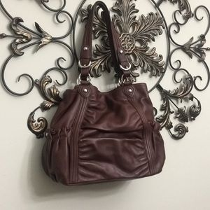 B. Makowsky cognac rouched leather tote purse